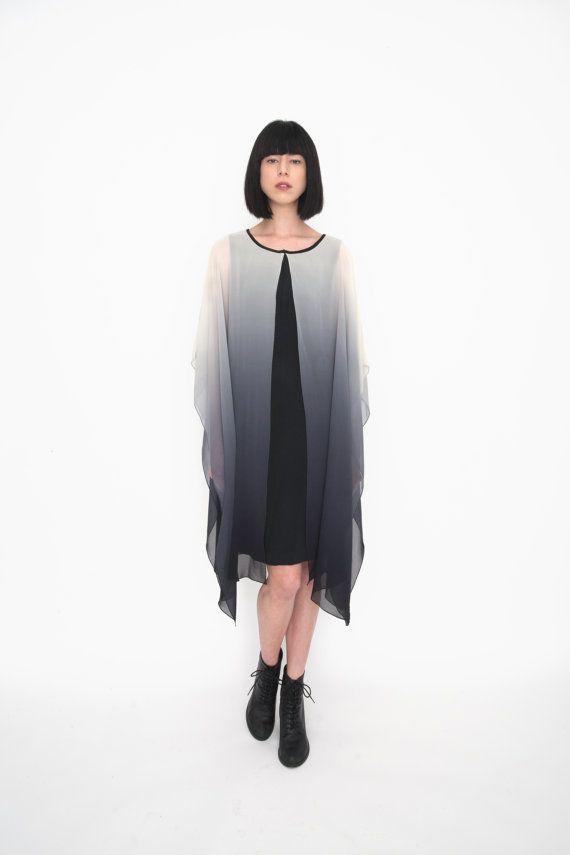 Silk Grey Ombré Dip Dye Drape Dress by amuletboutique on Etsy