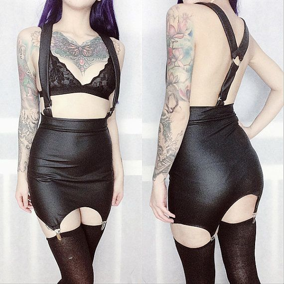 Pleather Suspender Garter Dress