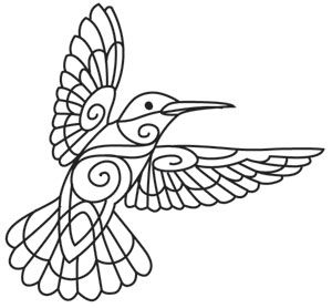 This beautifully distinctive hummingbird has swirling details, begging to be stitched! Downloads as a PDF. Use pattern transfer paper to trace design for hand-stitching.