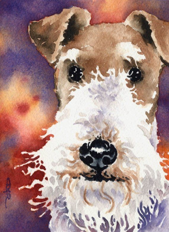 WIRE FOX TERRIER Dog Art Print Signed by Artist D by k9artgallery