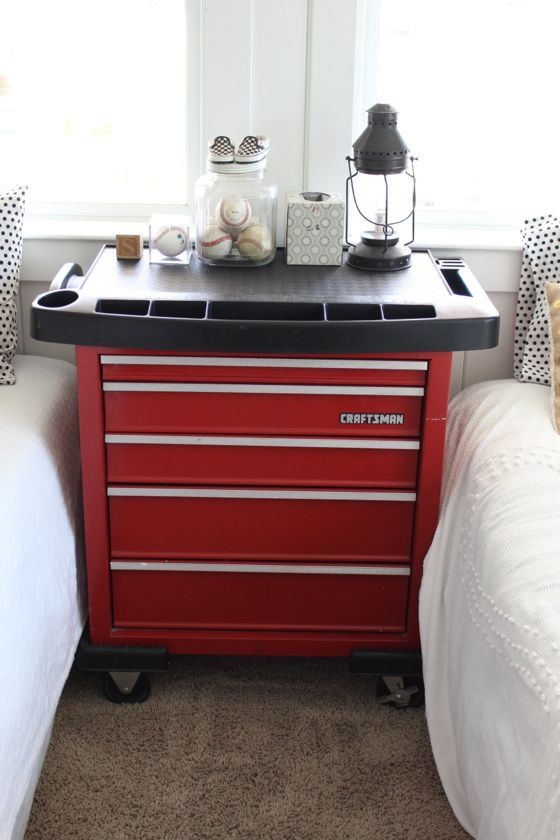 great idea for boys room. Craftsman tool box as a night stand or a chest