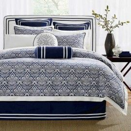 Blue Navy White Comforter Set King or Queen $590