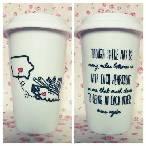State To State or Country Together Forever Long Distance Love Bff Military Missing You Travel Coffee Mug. $25.00, via Etsy.