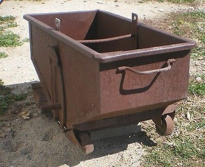 Antique Mine Cart Early 1900's Small Metal Ore Mining Cart with Track Wheels | eBay