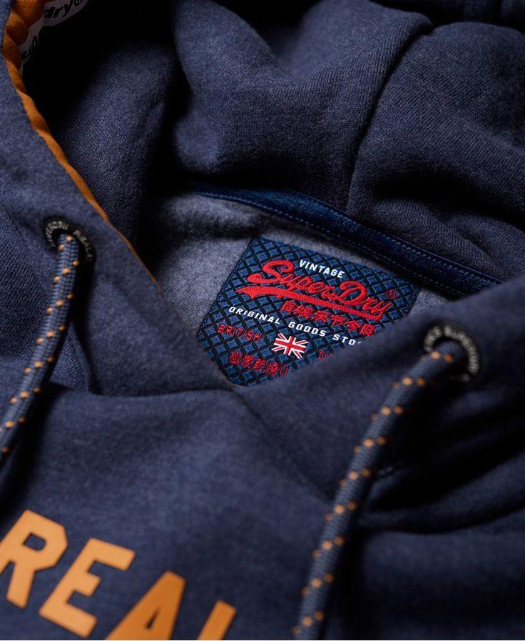 Superdry Princeton Blue Marl Vintage Logo Racer Hoodie Vintage Men Vintage Logo Superdry