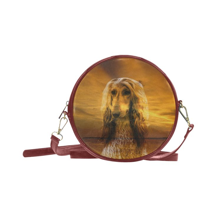 Dog Afghan Hound Round Messenger Bag (Model 1647)