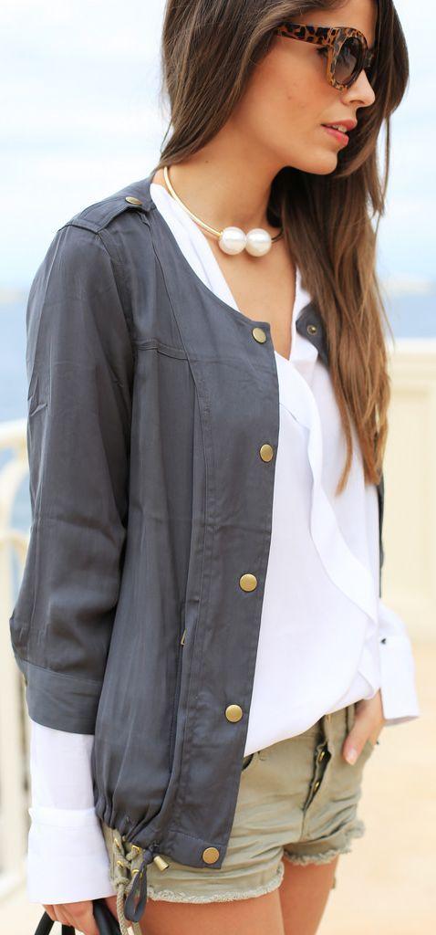 Buylevard Dark Grey 3/4 Sleeve Spring Jacket by Seams For a Desire