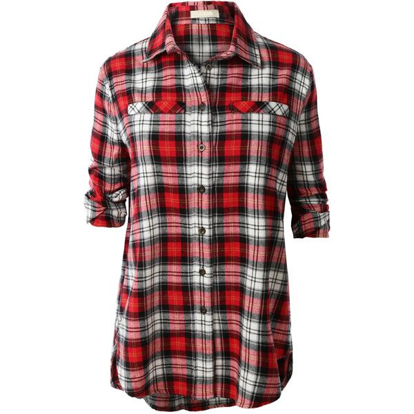 LE3NO Womens Flannel Long Sleeve Plaid Button Down Boyfriend Shirt ($28) ❤ liked on Polyvore featuring tops, shirts, button-down shirts, red button down shirt, oversized button down shirt, flannel shirts and button up shirts