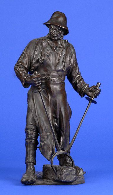 Reusch, Friedrich Joh. 1843 Siegen - 1906 Girgenti Stahlarbeiter. Bronze. Signiert. Datiert 1893. H 61 cm