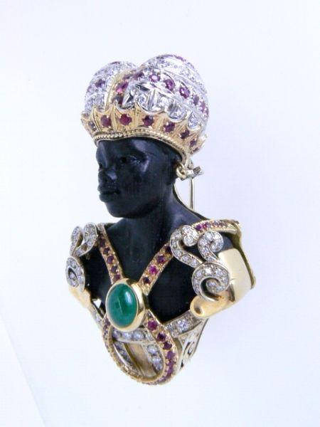 Bust Brooch, Blackamoor Venetian Talismano