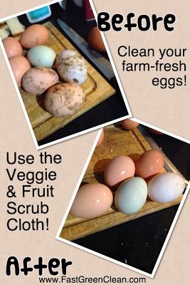 The Norwex Veggie and Fruit Scrub Cloth is great for cleaning farm-fresh eggs! Check out this before/after photo from one of my customers! http://www.fastgreenclean.com/search/label/Veggie%20and%20Fruit%20Scrub%20Cloth