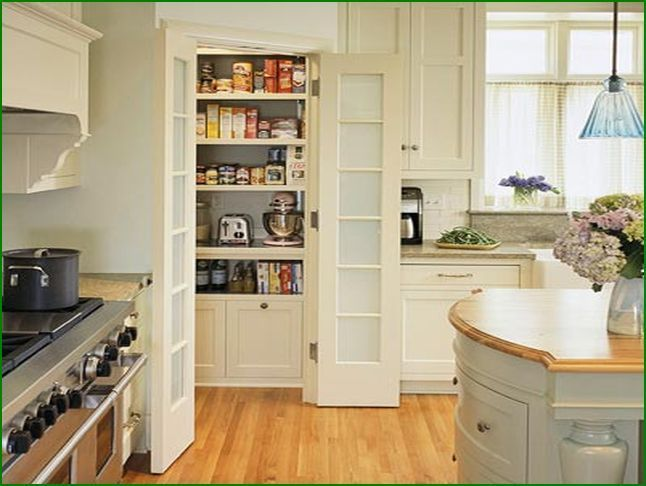 Make my corner pantry look built in, make little higher then the crown molding at top.. this layout inside is perfect.. love the cabinets below and the doors, wallpaper the back of the wall, have appliance shelf too like this
