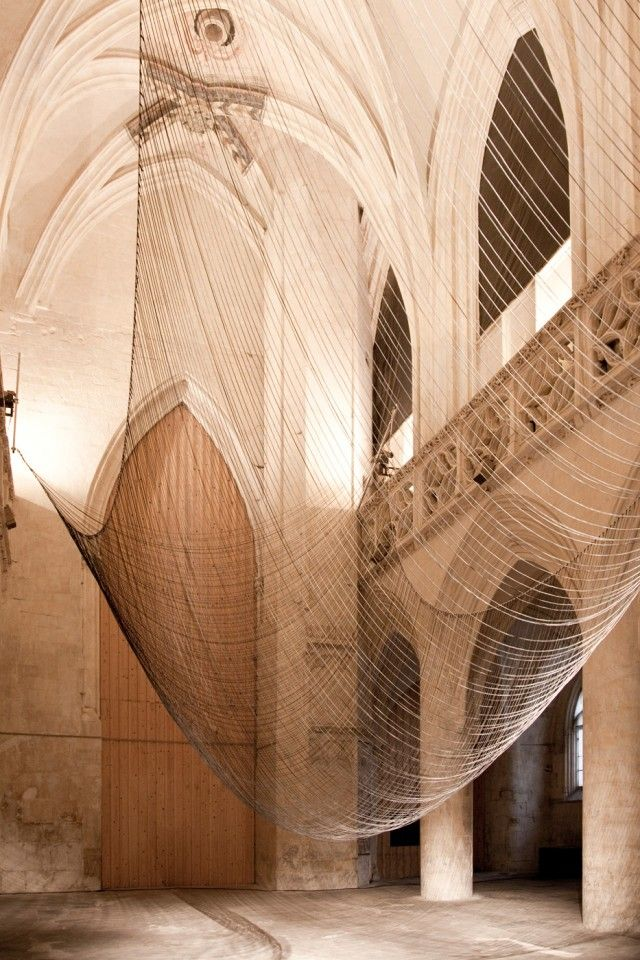 "David Letellier's ""Caten"" ~ a kinetic and musical sculpture made of 300 wires, created for Saint Sauveur chapel in Caen, France.  To hear and watch it: http://vimeo.com/42582062"