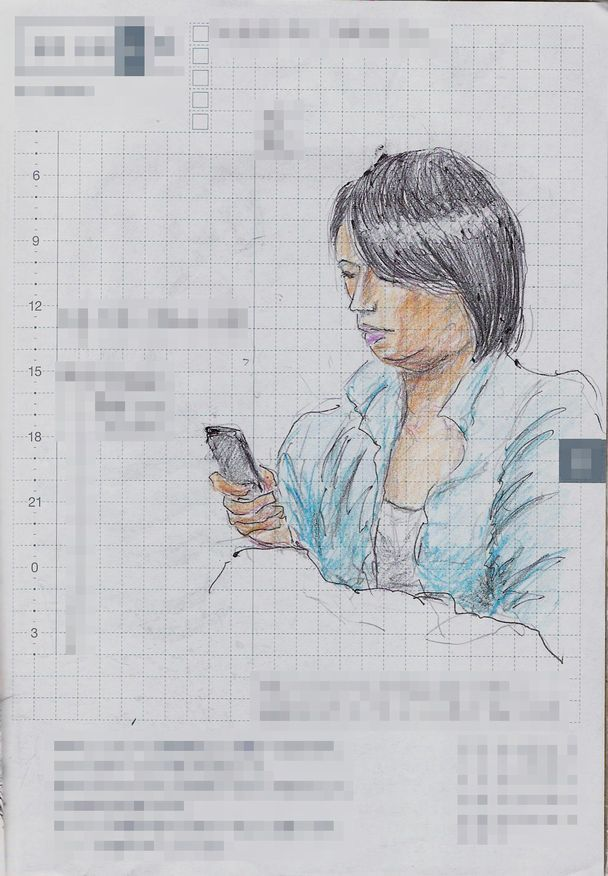 A woman I saw on the train. 『青いシャツのお姉さん』