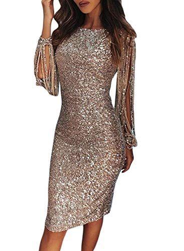 fe0bce1f43e7 FIYOTE Ladies Sexy Sequins Bodycon Pencil Dress Midi Party Nightclub Knee  Length Dresses Nude UK 12