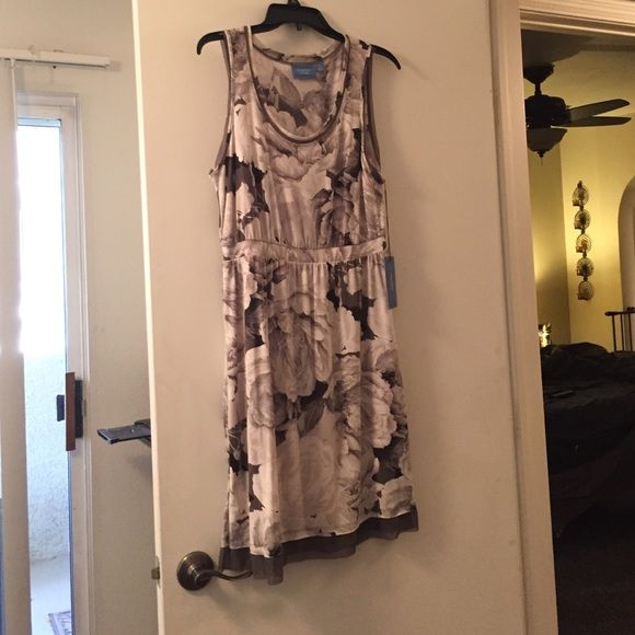 Simply Vera Dress: Medium Adorable Gray And White Floral Dress. Tank Style.  Never