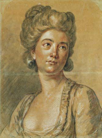 Antoine vestier (avalon 1740 paris 1824) portrait de femme trois crayons et légère estompe 44,5 x 33,5 cm pliure centrale, petites taches et...