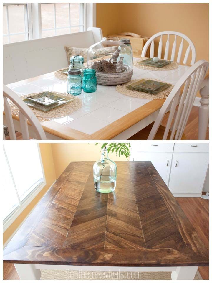 Best 25 table top redo ideas on pinterest dining table makeover from tile top to herringbone table makeover solutioingenieria