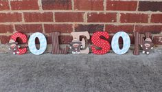 Sock Monkey Nursery Wooden Letters/ Sock Monkey Birthday Decoration