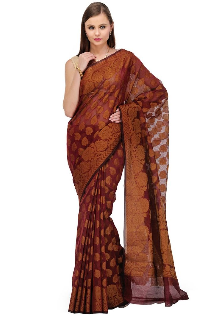 Maroon Printed Saree at $57.00 (24% OFF)