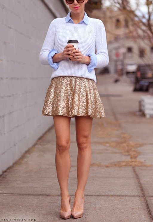 A white knit sweater and a gold sequin skater skirt will convey a carefree, cool-girl vibe. Elevate this ensemble with nude leather pumps.  Shop this look for $70:  http://lookastic.com/women/looks/beige-pumps-gold-skater-skirt-white-cable-sweater-light-blue-dress-shirt/6786  — Beige Leather Pumps  — Gold Sequin Skater Skirt  — White Cable Sweater  — Light Blue Dress Shirt