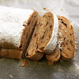 la recette traditionnelle du christstolle ou Christstollen ou stollen ou gâteau de Noël Alsacien sans massepain