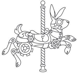 steampunk carousel bunny design uth6925 from urbanthreadscom 13 september 2013 steampunk vestcoloring pages