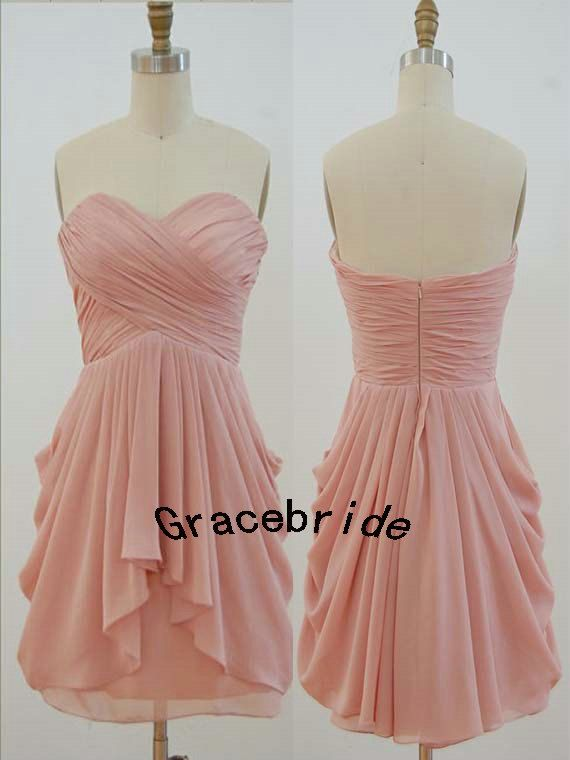 blush chiffon mini skirt for homecoming cute short prom dresses cheap bridesmaid dresses custom colors stunning sweetheart wedding dresses on Etsy, $101.42 CAD