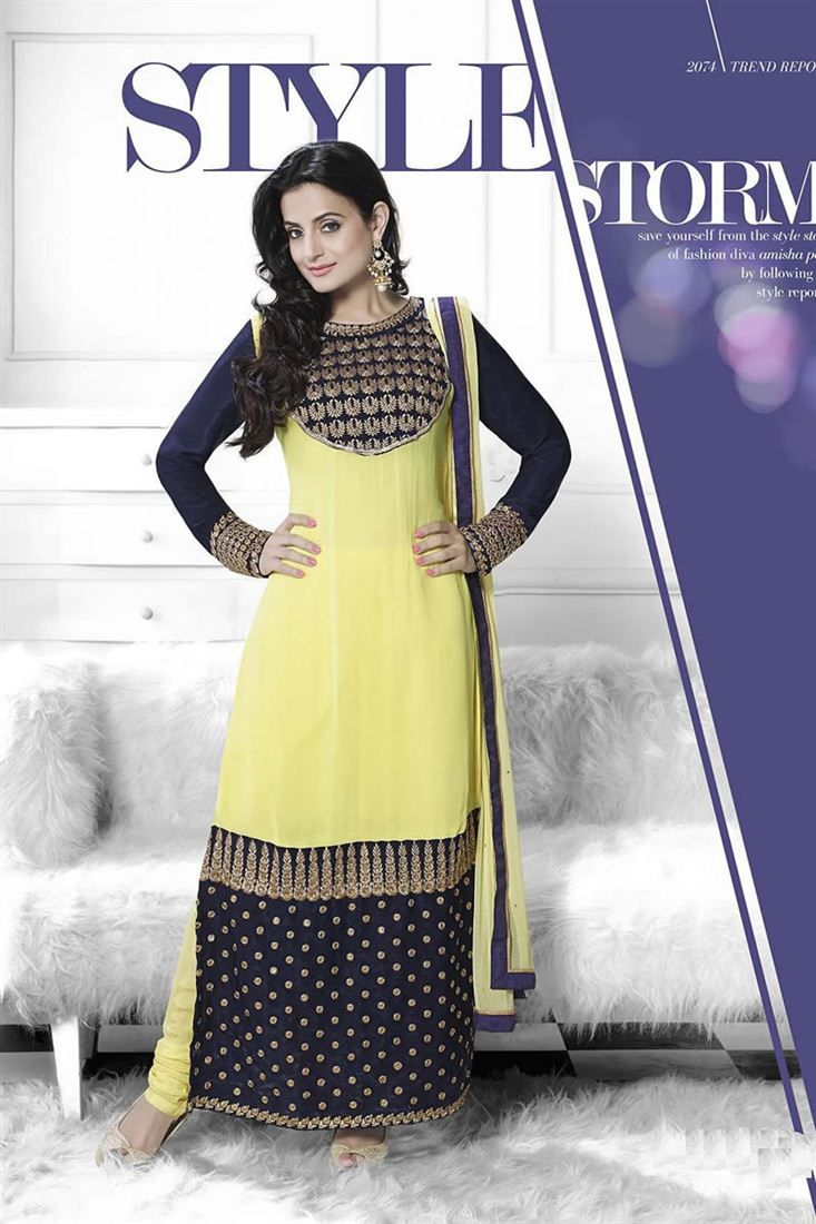 Amisha Patel Yellow And Navy Blue Color Salwar Sui