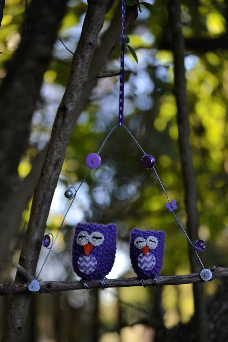 Owls on a Twig, Mom and Baby Owl Set, Sleepy Owls, Baby Owl, Purple Owls, Knitted Owls, Owl, Chevron, Buttons, Beads, Ribbon, Purple, White by HeartmadeSouthAfrica on Etsy