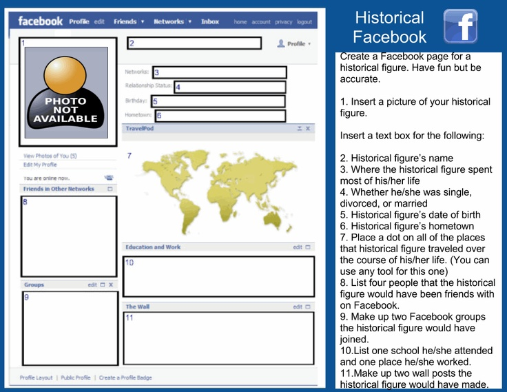 Facebook template for google docs students can create a for Historical facebook page template