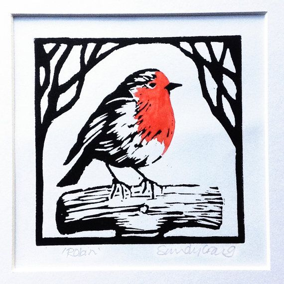 'Robin' is a signed, ORIGINAL linocut print of a lovely little bird. The little robin stands on top of the type of wooden garden fork handle that I remember from my childhood. So much nicer than the plastic types that we have now. This linocut has been handmade by me using my own design which I then carved, inked and hand printed onto acid-free paper on my kitchen table in Mid Wales, UK. I use an old wooden spoon for burnishing the print so that the ink transfers well onto the paper. As with…