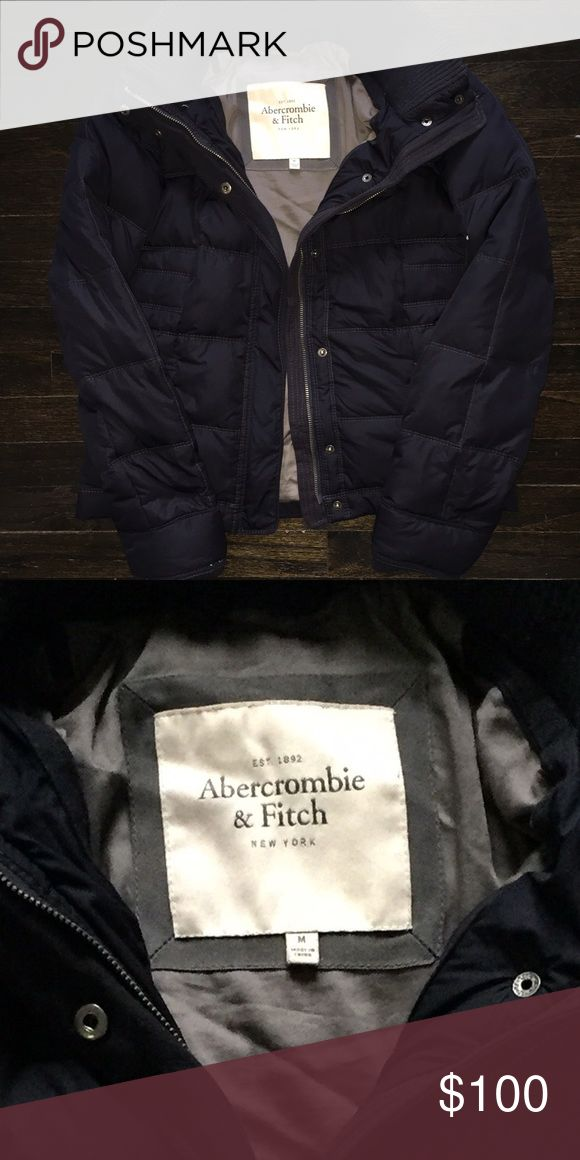 Abercrombie & Fitch navy blue Down Feather Coat Great condition! Is a medium but fits small/xsmall. Abercrombie & Fitch Jackets & Coats Puffers