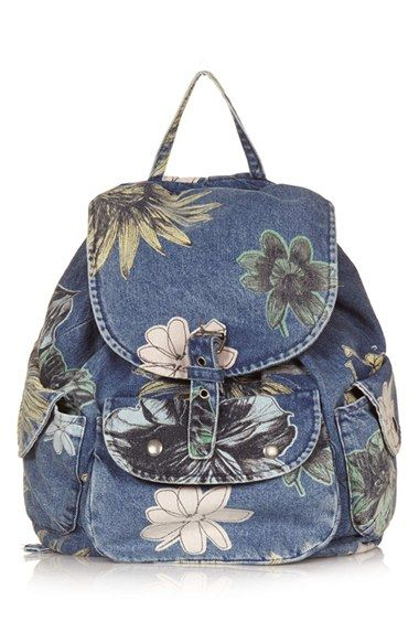 Totally loving this floral denim backpack!  $68