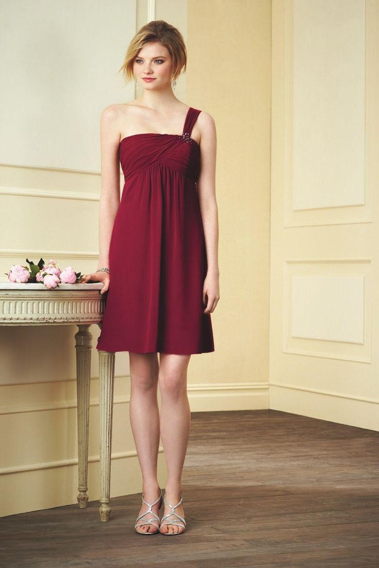 25 cute one shoulder bridesmaid ideas on pinterest one shoulder burgundy one shoulder bridesmaid dress from alfred angelo ombrellifo Choice Image