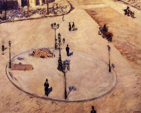 Gustave Caillebotte, A Traffic Island, Boulevard Haussmann, 1880 on ArtStack #gustave-caillebotte #art