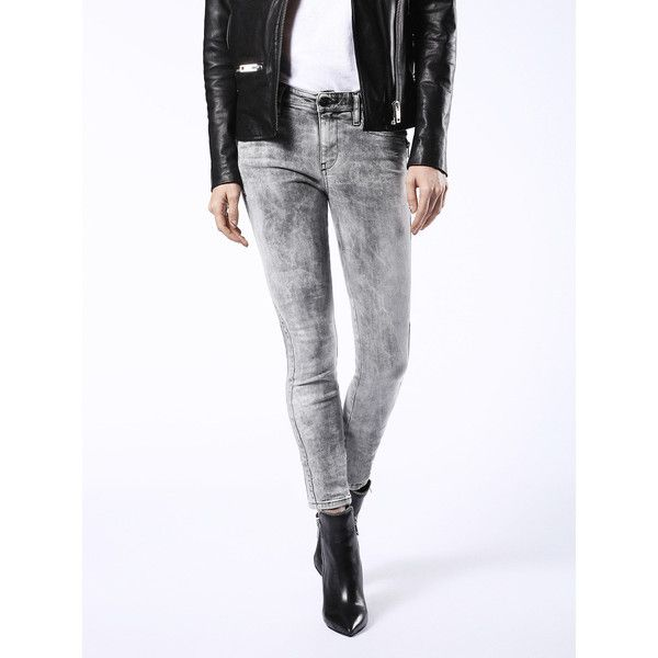 Diesel SKINZEE-BK2 0854K Super Skinny ($298) ❤ liked on Polyvore featuring jeans, denim, grey jeans, super skinny, women, stretch skinny jeans, skinny leg jeans, super stretchy skinny jeans, skinny jeans and skinny fit jeans