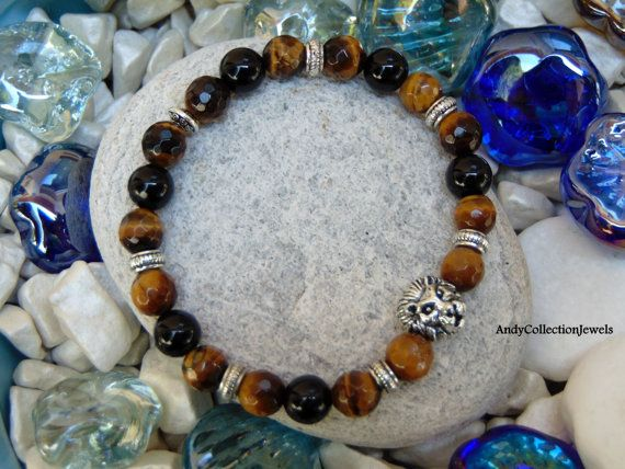 Men's Beaded Wristband with Tiger Eye, Black Agate stones and Silver-tone Lion Head, Gift idea for Him