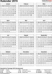 Vorlage 14: Kalender 2015 als PDF-Datei, Hochformat, 1 Seite