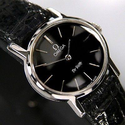 Omega DE VILLE Ladies Manual Winding Cal625 Black Dial Swiss Antique RARE Watch