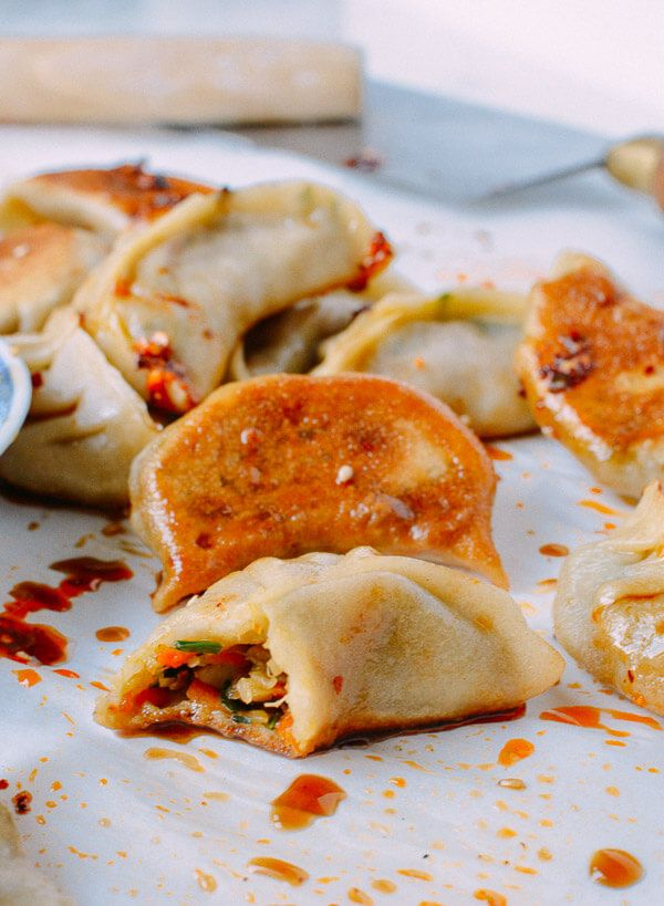Vegetable Dumplings, need to try the filling with lettuce leaf wrappers and some shredded pieces of grilled chicken!