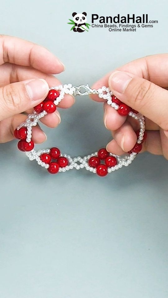 #Pandahall video tutorial on red and white pearl b…