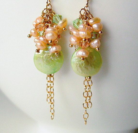 Green and Peach Pearl Earrings Freshwater by BeguiledByTheBead, £15.00Freshwater Apricot, Pearl Earrings, Gift Ideas, Earrings Freshwater, Peaches Pearls, Pearls Earrings, Mint Pearls