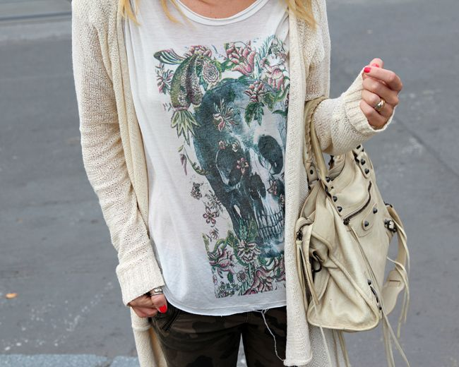 Great casual look. Skeleton tee, camo pants & oversized long sweater.