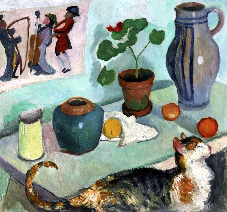 August Macke (German, 1887-1914) - The Spirit of the House / Still Life with Cat, 1910