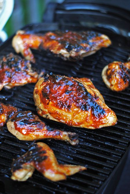 Beer-Brined Barbecue Chicken - brine the chicken overnight then slather it with homemade barbecue sauce on the grill
