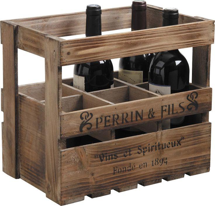 Caisse en bois 6 bouteilles : Range-bouteilles AUBRY GASPARD sur Jardindeco.com 34.90 €