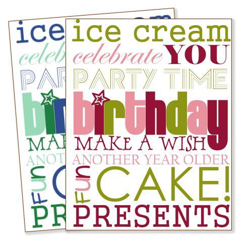 Birthday Printables: Birthday Subway Art