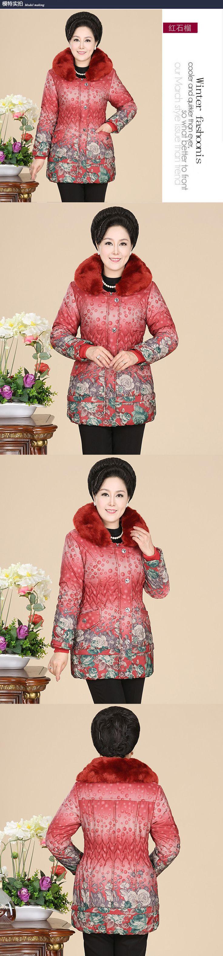 Одежда зимняя новых продуктов среднего и старых женщин в возрасте 40-50-летняя мать одежда плюс удобрения для увеличения код плюс толстый длинный хлопок ватник-Таобао одежда