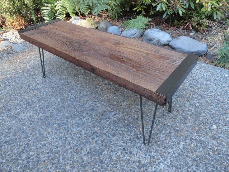 CUSTOM 30 x 15 inch Industrial Coffee Table from salvaged barnwood with hairpin legs. $155.00, via Etsy.